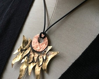 Day and night - flames and moon pendant necklace