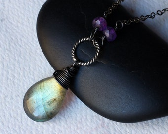"""Labradorite Necklace, Amethyst Necklace, Oxidized Sterling Silver - """"Ivy"""" by CircesHouse on Etsy"""