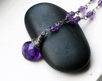 "Amethyst Necklace on Oxidized Sterling Silver - ""Oberon"" by CircesHouse on Etsy"