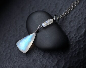 """Rainbow Moonstone Necklace on Oxidized Sterling Silver - """"Lunar"""" by CircesHouse on Etsy"""