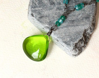 """Emerald Green Quartz Necklace with Gemstones on Oxidized Sterling Silver - """"Verdant"""" by CircesHouse on Etsy"""