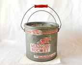 vintage minnow bucket, Old Pal, galvanized, inner air flow bucket, wooden handle, fishing, rustic
