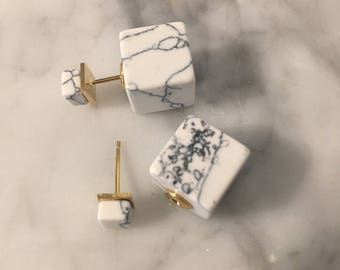 White Marble Cube Post Stud Earring