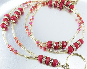 Gold and Red Crystal Beaded Lanyard, ID Badge Holder, ID Necklace, Badge Clip Necklace