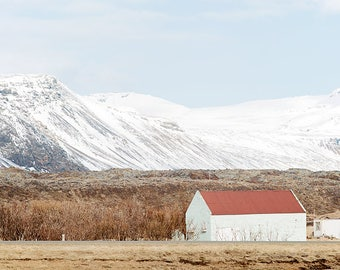 Barn Photography, Rustic Photograph, Iceland Photograph, Mountain, Landscape Photography, Rural, Cottage Decor, Rustic Decor, Farmhouse Art