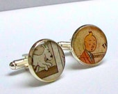 Snowy and Tintin - Cuff Links - Upcycled Classic Snowy and Tintin vintage comic book - Recycled into Silver Plated Cufflinks