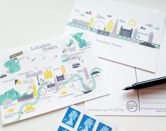 London Postcard / London Map / Gifts For Travelers /  London Skyline / London Print / Travel Gift / Decorative Postcard / Illustrated Map