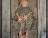reserved for rtyounke large primitive folk art soft sculpted rag doll large feet fingers flax hair HAFAIR ofg faap lucys lazy dayz