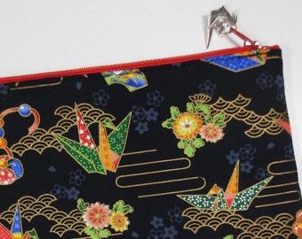 Origami Crane Zipper Pouch / iPad mini Case / Clutch Bag