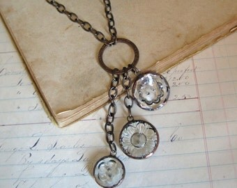Clear Glass Button Cascading Necklace Vintage Buttons
