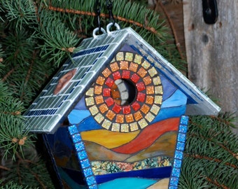 Birdhouse Stained Glass Mosaic Sunset on the Beach Landscape