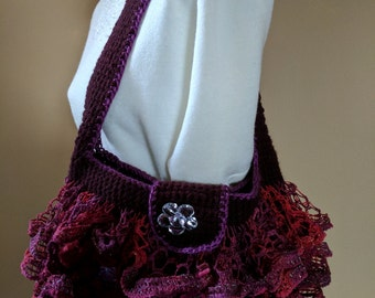 """Purse Handbag Shoulder Bag in Cranberry Red Ruffles with Flowers - 11""""W x 6""""H x 2""""D"""