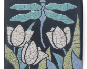 Dragonfly ,Ceramic handmade tile, tulips, home decor,a 4x4 raku art tile,wall art, handmade tile