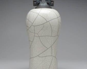 Ceramic lidded jar,urn, white and black Raku Jar with lid,large urn, large jar, art pottery,wheel thrown,handmade