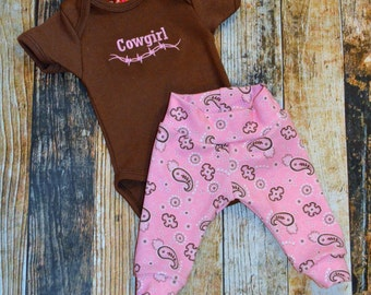 Cowgirl Baby Pants and Bodysuit Set - Can be Personalized - Pink Bandana Pants and Brown Bodysuit - Coming Home Outfit - Country Baby