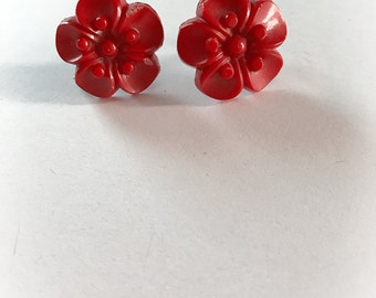 Vintage Red Plastic Flower Earrings Screw Backs