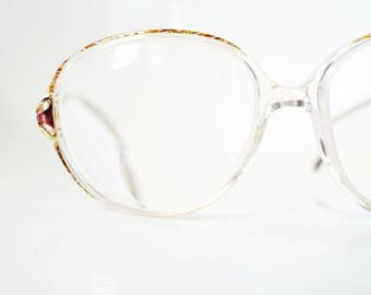 1980s Oversized Womens Glasses Mottled Gold Metallic Clear Brown Tortoiseshell 8s0 Eighties Retro Chic Granny Geeky Geek Chic Nerdy Indie