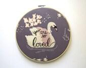 You Are So Loved, Swan Nursery Decor, Swan Nursery Art, Newborn Baby Gift, Baby Shower Gift, Embroidery Nursery Art By KimArt Designs