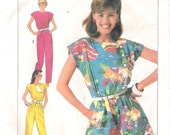 """Simplicity 7433 1980s Romper """"Easy to Sew"""" Vintage Sewing Pattern Size 12 Bust 34 Jumpsuit Side Button"""