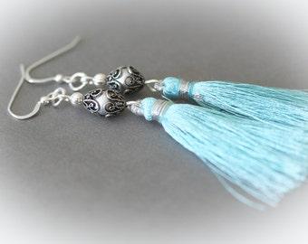 Turquoise Blue Silk Tassel Earrings - Sterling Silver