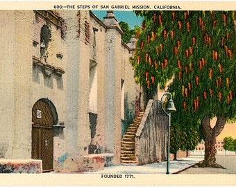 Vintage California Postcard - Mission San Gabriel Arcangel (Unused)