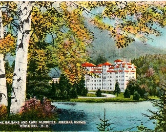 Vintage New Hampshire Postcard - The Balsams and Lake Gloriette at Dixville Notch (Unused)