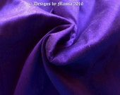 Indigo Silk Dupioni Fabric By The Yard, Purple Art Silk Fabric, Blue Indian Silk Fabric, Curtain Material, Sewing Quilting Fabric