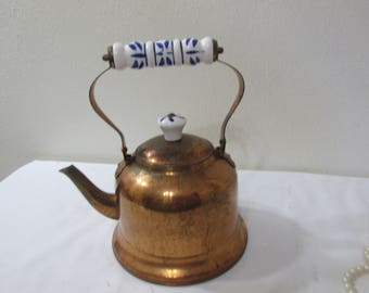 Copper Tea Kettle with Blue and White Porcelain Handle