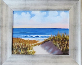 Sand Dunes on the Beach, Original Oil Painting by Evie Mineau, Framed Ready To Hang