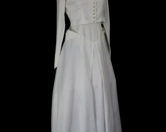 Original vintage 1950s white stripe satin wedding dress - Small - FREE SHIPPING WORLDWIDE