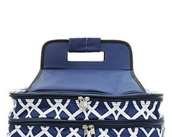Personalized Casserole Carrier  navy vine Casserole Tote Monogrammed Gift