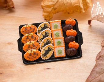 MTO-Miniature Cookies - Jack O'Lantern, Spiders, Frogs, Chocolate and Orange Pumpkins on Tray for Autumn / Fall - 12th Scale Miniature Food