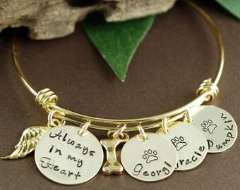 Pet Memorial Bangle Bracelet, Dog Mom Bracelet, Personalized Bracelet, Pet Jewelry, Dog Name Jewelry, Dog Paw Bracelet, GIft for Dog Mom