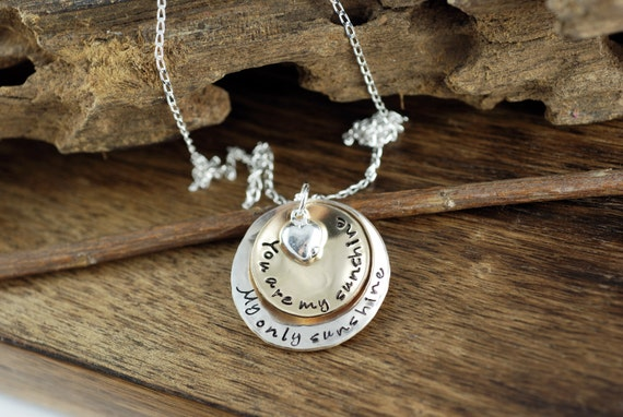You are my Sunshine, My only Sunshine Hand Stamped Necklace, Mothers Necklace, GIft for Mom, Mother Daughter Necklace Sunshine Necklace