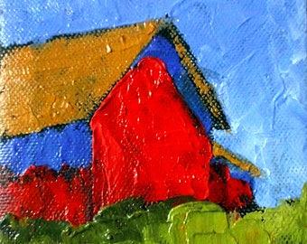 Miniature Impressionist Oil Painting 4x4 Plein Air California FARM BARN Salinas Landscape Lynne French Art