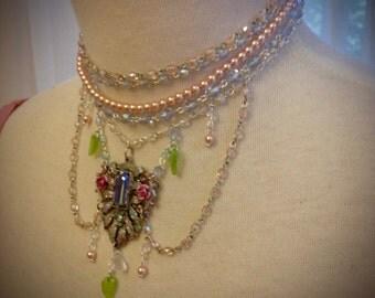 Marie Antoinette Floral Fantasy Aurora Borealis Sparkling Crystal Necklace