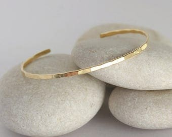 Solid Gold Cuff Bracelet, Hammered Solid Gold Bangle, Simple Stacking Cuff
