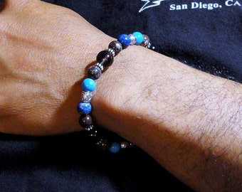 Mens Bracelet, Denim Lapis, Howlite, Smoky Quartz, Brown Jasper - Beaded Mens Jewelry