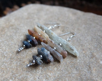 Australian Kyanite earrings - eco friendly, ethical sourced & handmade gem stone jewelry - blue, grey, rusty red
