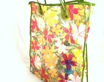 Vintage 60s FLOWER POWER Plastic Shopping Bag / Green Yellow Red Flower Print Vinyl Tote Bag