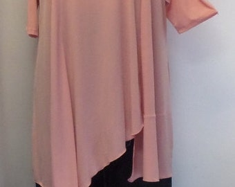 Coco and Juan,  Lagenlook Tunic, Plus Size Tunic, Asymmetric Top Shell Pink Knit Size 2 (fits 3X,4X)  Bust 60 inches