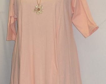 Plus Size Tunic, Coco and Juan, Plus Size Asymmetrical Tunic, Women's Top, Peach Cotton, Knit Size 1 (fits 1X,2X)   Bust 650 inches
