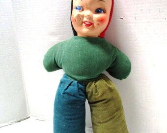 Vintage Plastic Face Corduroy Cloth Doll, Carnival Prize, Blonde Hair, Blue Eyes, Retro Toy, Velveteen Rabbit Love Worn, Sweet Elfin Baby