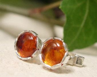 Amber Stud Earrings, Sterling Silver Stud Earrings, Natural Cabochon Gemstone Earrings, Autumn Artisan Jewellery, Simple Small Handmade Stud