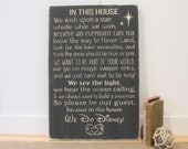 Disney Rules with Mickey Mouse Hands In This House We Do Disney House Rules Family Rules Rustic Wood Sign - 16x24 Carved Rules Sign