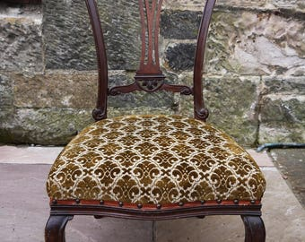 Antique upholstered nursing bedroom chair with original velvet upholstery