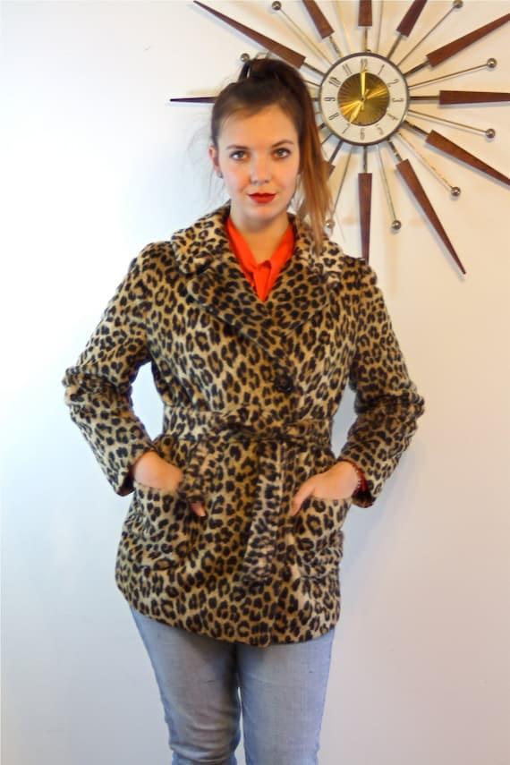 Leopard Print Coat Vintage 1960s Mod Jacket Spotted Cheetah Pattern 60s MAD MEN Jackie-O Belted Cozy Vegan Animal Faux Fur Rockabilly Jacket
