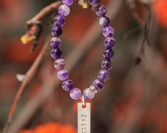Word Bracelet/ Custom Gold Tag Jewelry/ Inspirational Bracelet/ Faith/ Stacking Bracelets/ Meaningful Jewelry for Her/ Amethyst Bracelet