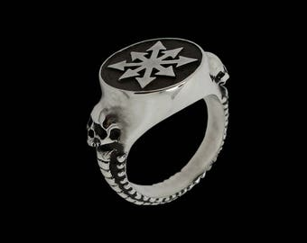 Sterling Silver Skulls Chaos Ring -  ALL SIZES - Chaos Star