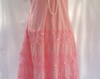 pink lace dress, beach wedding, pink wedding dress, pink summer dress, sequins flower appliques, long pink dress